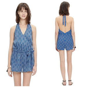 Madewell Cover-Up Halter Romper in Peruvian Stripe Small